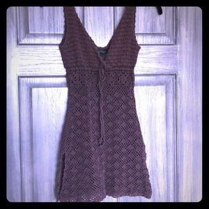 Tops - Boho Hippie Crochet Mesh Tunic Mini Dress CoverUp